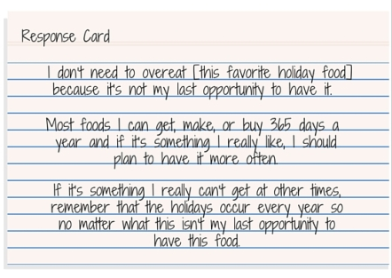 Response Card - I only get this food once a year