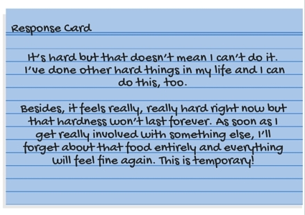 Response Card - It's too hard to stick to my plan.